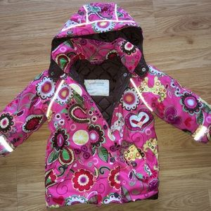Hanna Andersson pink floral winter jacket size 90